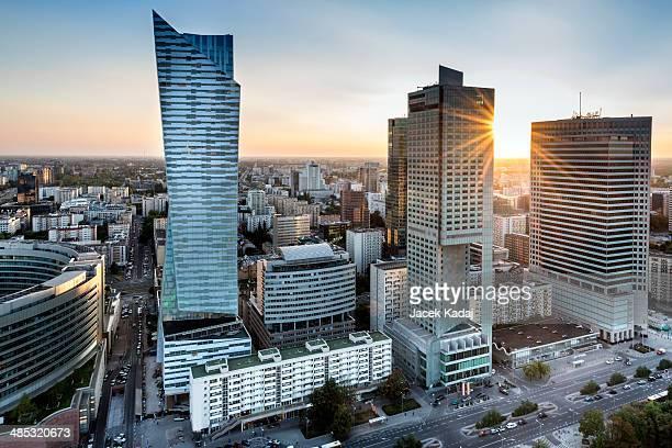 Sundown over Warszawa city, Poland