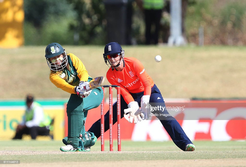 Sune Luus of South Africa during the 1st T20 International match between South African Women and England Women at Boland Park on February 18 2016 in...
