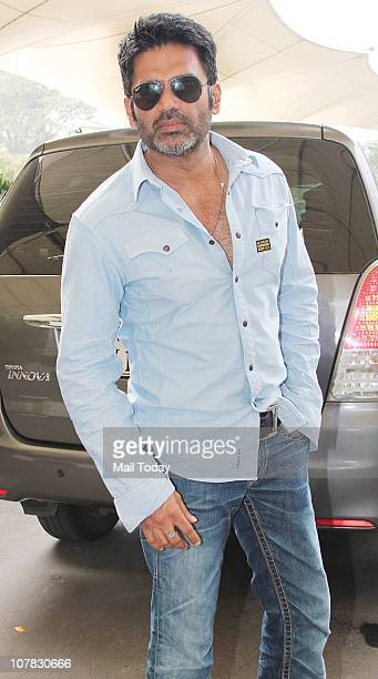 Suneil Shetty at the Mumbai airport in Mumbai on December 30 2010