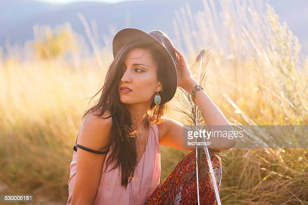 Sunet portrait in the beautiful outdoors
