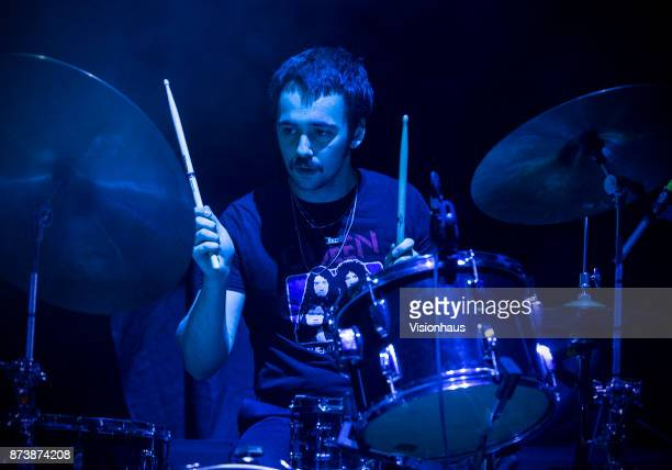 Sunflower Bean drummer Jacob Faber performs with the band as support to Wolf Alice at the O2 Apollo Manchester on November 9 2017 in Manchester...