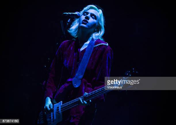 Sunflower Bean singer Julia Cumming performs with the band as support to Wolf Alice at the O2 Apollo Manchester on November 9 2017 in Manchester...