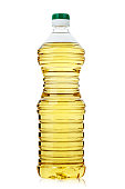 sunflower oil in a bottle on a white background, isolated. clipping path