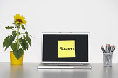 Sunflower plant on desk and sticky notepaper with German text on laptop screen saying ''Steuern'' (Taxes)