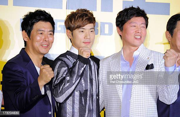 Sung DongIl Kim KangWoo and Kim HeeWon attend the 'Mr GO' red carpet VIP press screening at COEX Megabox on July 9 2013 in Seoul South Korea