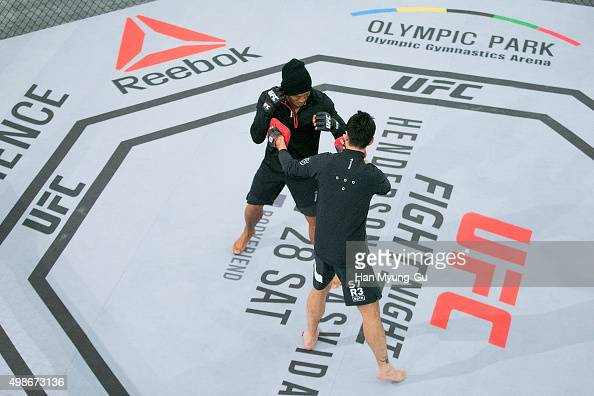Sung Hoon Choo aka Yoshihiro Akiyama holds an open workout for fans and media during UFC Fight Night Open Workouts at Times Square on November 25...