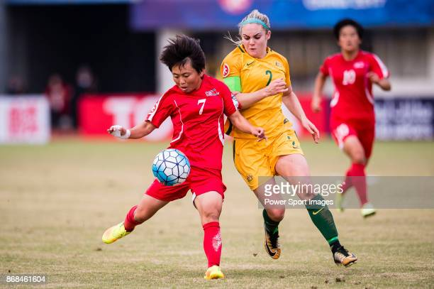 Sung Hyang Sim of DPR Korea in action against Ellie Carpenter of Australia during their AFC U19 Women's Championship 2017 SemiFinals match between...