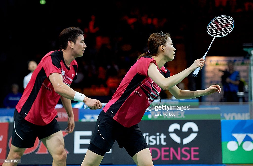 KO Sung Hyun	and KIM Ha Na of Korea in action during the Semifinals at the MetLife BWF World Superseries Premier Yonex Denmark Open Badminton at Odense Idratshal on October 17, 2015 in Odense, Denmark.