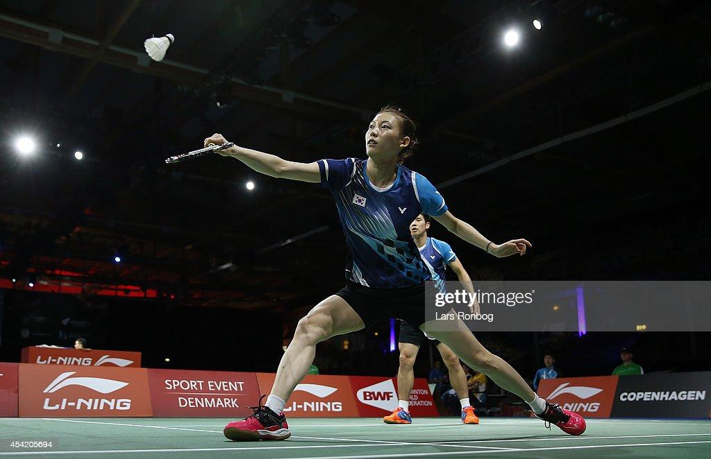 Sung Hyun Ko and Ha Na Kim in action during the Li-Ning BWF World Badminton Championships at Ballerup Super Arena on August 26, 2014 in Copenhagen, Denmark.