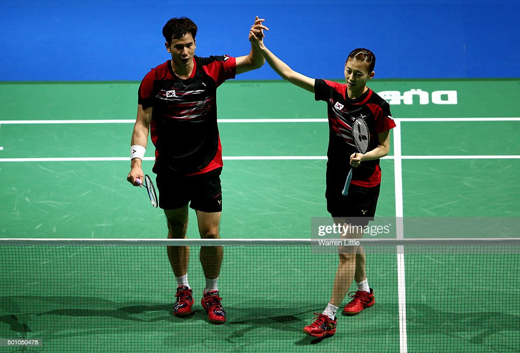 Sung Hyun Ko and Ha Na Kim of Korea celebrate after beating Chun Hei Reginald Lee and Hoi Wah Chau of Hong Kong in the Mixed Doubles match during day four of the BWF Dubai World Superseries 2015 Finals at the Hamdan Sports Complex on December 12, 2015 in Dubai, United Arab Emirates.