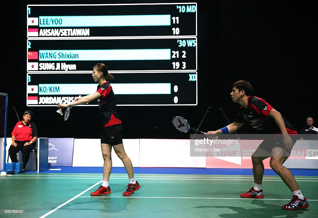 Sung Hyun Ko and Ha Na Kim of Korea in action against Debby Susanto and Praveen Jordan of Indonesia in the Mixed Doubles match during day two of the BWF Dubai World Superseries 2015 Finals at the Hamdan Sports Complex on December 10, 2015 in Dubai, United Arab Emirates.