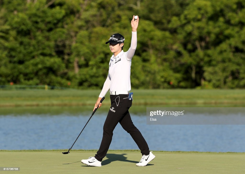 Sung Hyun Park of Korea celebrates after her final putt on the 18th green giving her the victory during the final round of the U.S. Women's Open on July 16, 2017 at Trump National Golf Club in Bedminster, New Jersey.