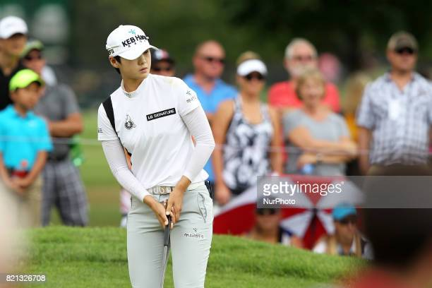 Sung Hyun Park of Korea follows her shot on the 4th green during the final round of the Marathon LPGA Classic golf tournament at Highland Meadows...