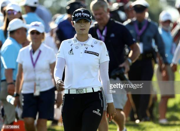 Sung Hyun Park of Korea heads to the 16th tee during the final round of the US Women's Open on July 16 2017 at Trump National Golf Club in Bedminster...