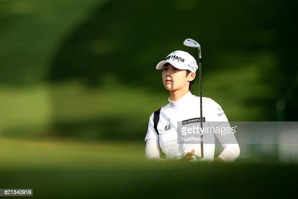 Sung Hyun Park of Korea plans her shot on the 18th green during the final round of the Marathon LPGA Classic golf tournament at Highland Meadows Golf...