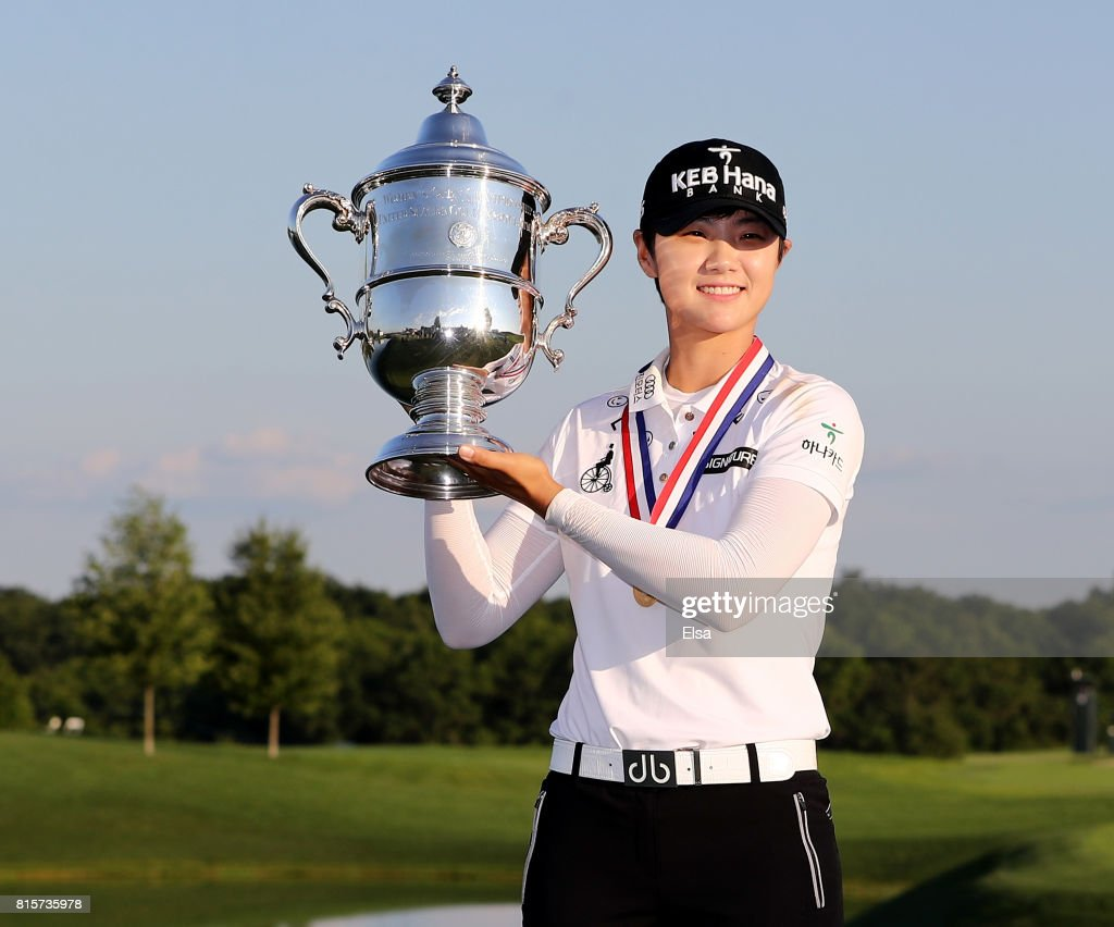 Sung Hyun Park of Korea poses with the trophy afer the final round of the U.S. Women's Open on July 16, 2017 at Trump National Golf Club in Bedminster, New Jersey.