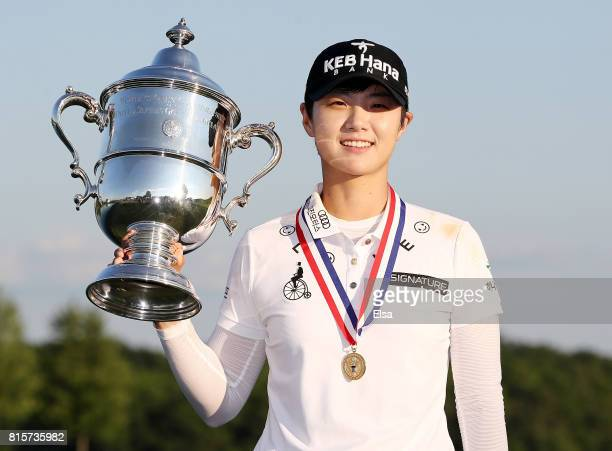 Sung Hyun Park of Korea poses with the trophy afer the final round of the US Women's Open on July 16 2017 at Trump National Golf Club in Bedminster...