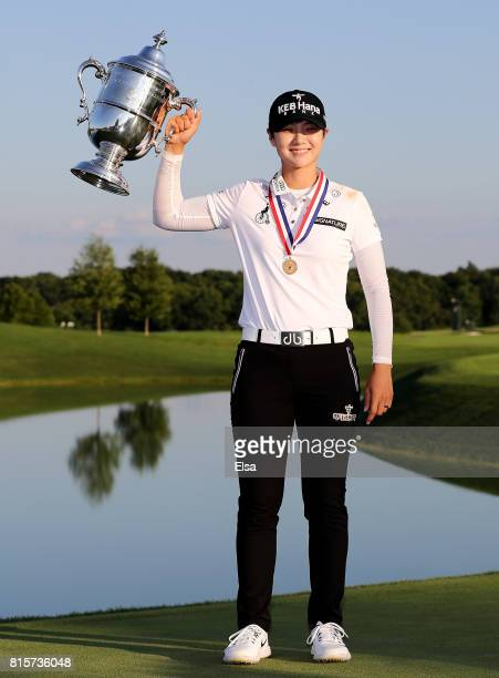 Sung Hyun Park of Korea poses with the trophy after the final round of the US Women's Open on July 16 2017 at Trump National Golf Club in Bedminster...