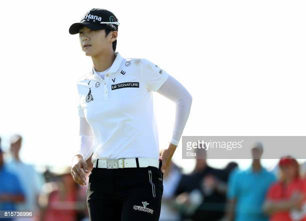 Sung Hyun Park of Korea prepares for her shot on the 16th tee during the final round of the US Women's Open on July 16 2017 at Trump National Golf...