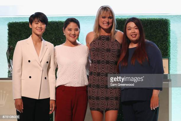 Sung Hyun Park of Korea So Yeon Ryu of Korea Lexi Thompson of the United States and Shanshan Feng of China pose during the LPGA Rolex Players Awards...