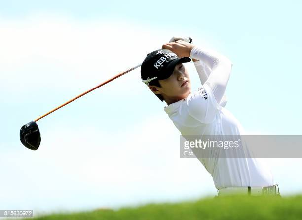 Sung Hyun Park of Korea takes her shot from the second tee during the final round of the US Women's Open on July 16 2017 at Trump National Golf Club...