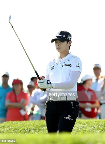 Sung Hyun Park of Korea takes her shot off the 16th tee during the final round of the US Women's Open on July 16 2017 at Trump National Golf Club in...
