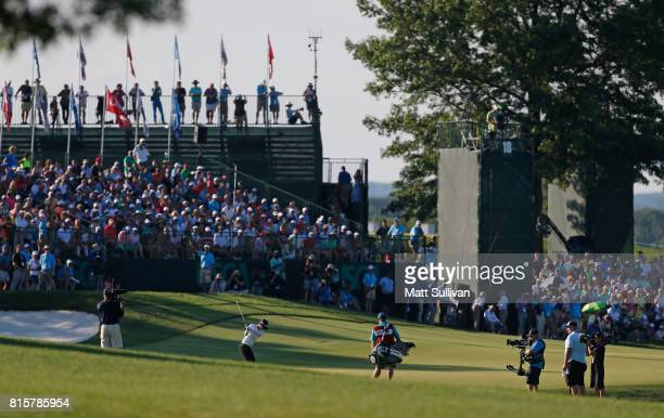 Sung Hyun Park of Sourth Korea hits her third shot on the 18th hole during the final round of the US Women's Open Championship at Trump National Golf...