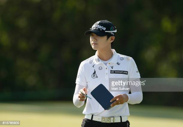 Sung Hyun Park of Sourth Korea looks over the green on the 12th hole during the final round of the US Women's Open Championship at Trump National...