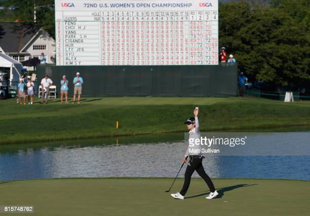Sung Hyun Park of Sourth Korea reacts after making a par on the 18th hole during the final round of the US Women's Open Championship at Trump...