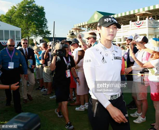 Sung Hyun Park of Sourth Korea walks onto the green at the 18th hole after the final round of the US Women's Open Championship at Trump National Golf...