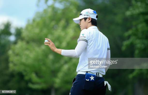 Sung Hyun Park of South Korea acknowledges the gallery on the 17th green during the third round of the Marathon Classic Presented By Owens Corning...