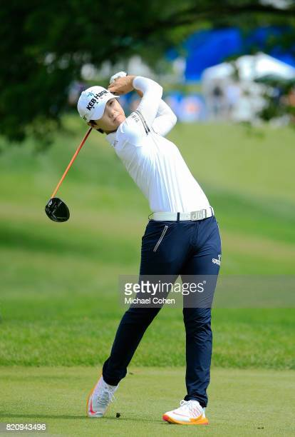 Sung Hyun Park of South Korea hits her drive on the third hole during the third round of the Marathon Classic Presented By Owens Corning And OI held...
