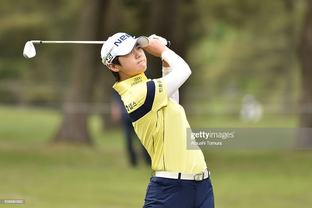 Sung Hyun Park of South Korea hits her second shot on the 11th hole during the second round of the World Ladies Championship Salonpas Cup at the Ibaraki Golf Club on May 6, 2016 in Tsukubamirai, Japan.