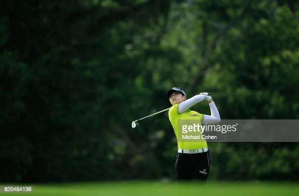 Sung Hyun Park of South Korea hits her second shot on the 16th hole during the second round of the Marathon Classic Presented By Owens Corning And OI...