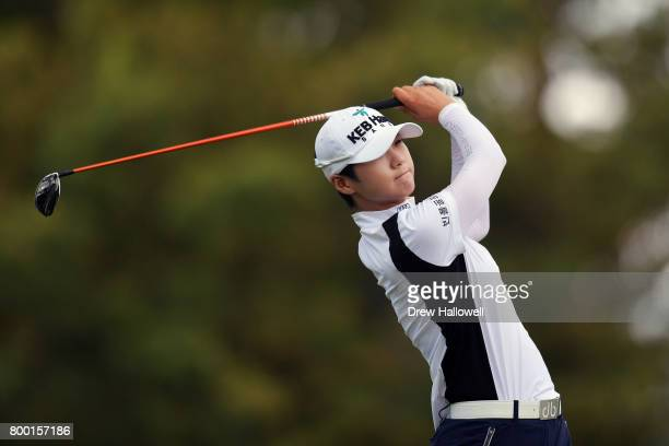 Sung Hyun Park of South Korea hits her tee shot on the 16th hole during the first round of the Walmart NW Arkansas Championship Presented by PG on...
