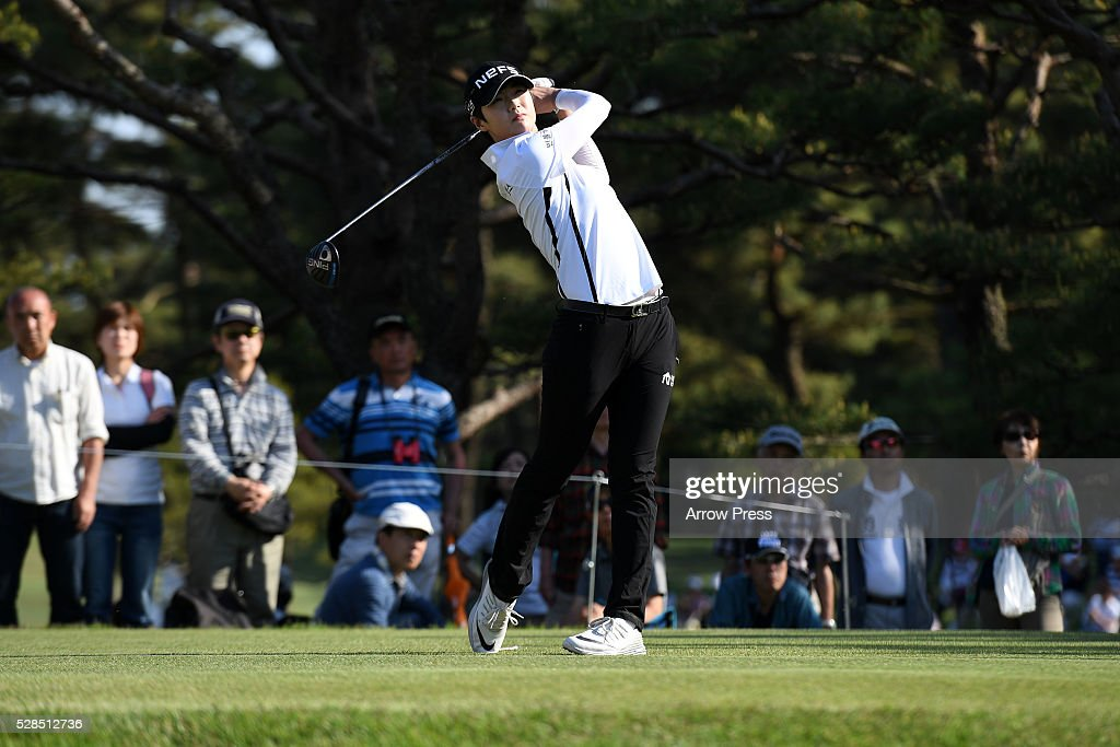 Sung Hyun park of South Korea hits her tee shot on the 7th hole during the first round of the World Ladies Championship Salonpas Cup at the Ibaraki Golf Club on May 5, 2016 in Tsukubamirai, Japan.