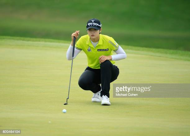 Sung Hyun Park of South Korea lines up her putt on the 18th green during the second round of the Marathon Classic Presented By Owens Corning And OI...