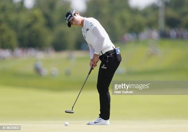 Sung Hyun Park of South Korea misses a birdie putt on the first hole during the final round of the US Women's Open Championship at Trump National...