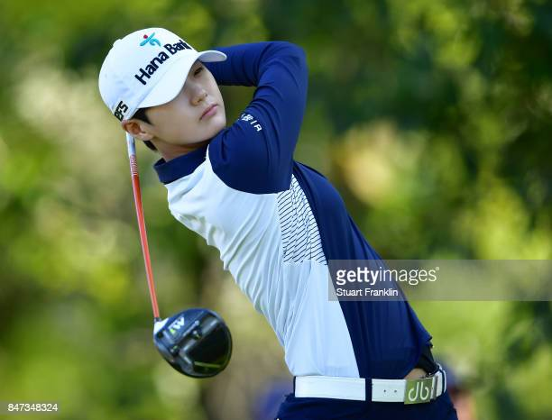 Sung Hyun Park of South Korea plays a shot during the weather delayed first round of The Evina Championship at Evian Resort Golf Club on September 15...