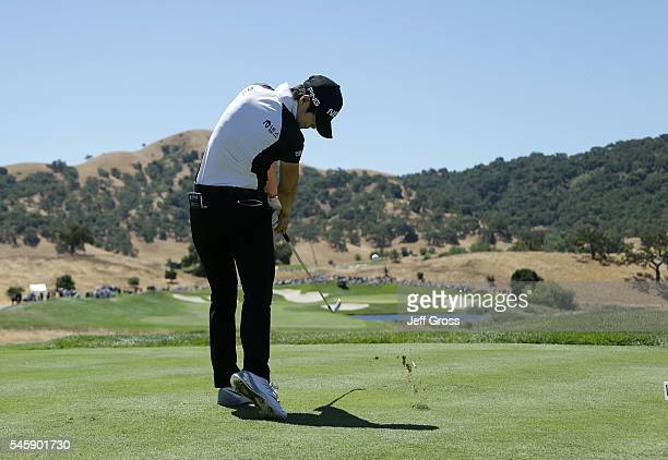 Sung Hyun Park of South Korea plays a tee shot on the fifth hole during the final round of the US Women's Open at the CordeValle Golf Club on July 10...