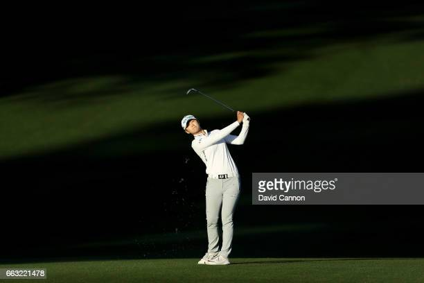 Sung Hyun Park of South Korea plays her third shot at the par 5 ninth hole during the completion of the second round of the 2017 ANA Inspiration held...