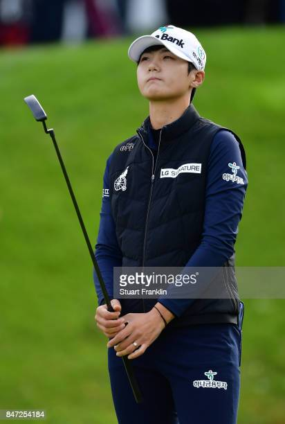 Sung Hyun Park of South Korea reacts to a putt during the weather delayed first round of The Evina Championship at Evian Resort Golf Club on...
