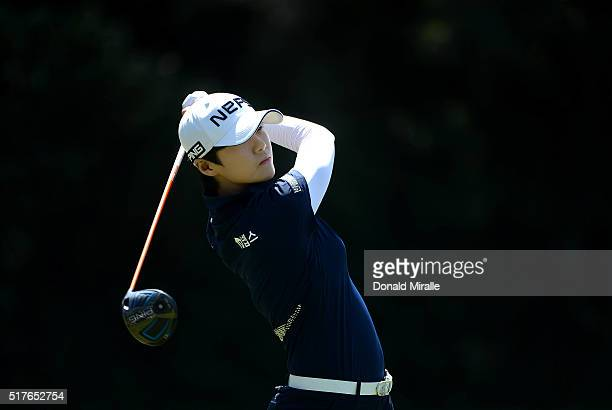 Sung Hyun Park of South Korea tees off the 2nd hole during Round Three of the KIA Classic at the Park Hyatt Aviara Resort on March 26 2016 in...