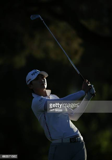 Sung Hyun Park of the Republic of Korea plays her tee shot on the 17th hole during the third round of the ANA Inspiration at the Dinah Shore...