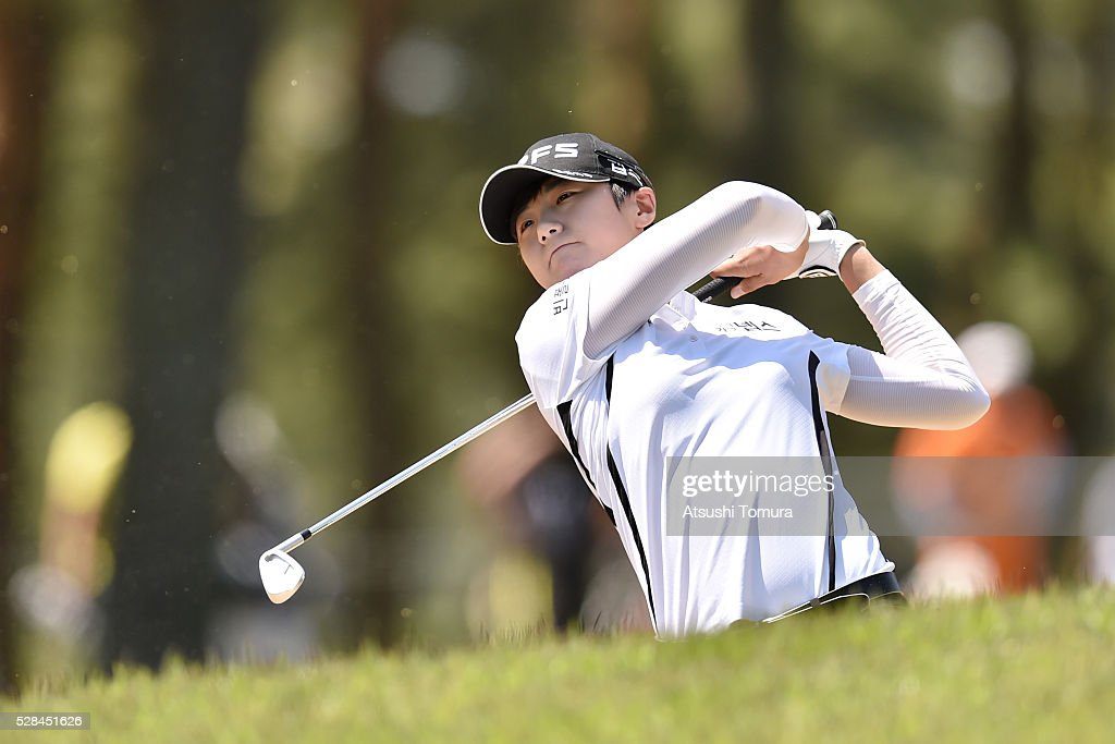Sung Hyun-Park of South Korea hits her second shot on the 12th hole during the first round of the World Ladies Championship Salonpas Cup at the Ibaraki Golf Club on May 5, 2016 in Tsukubamirai, Japan.
