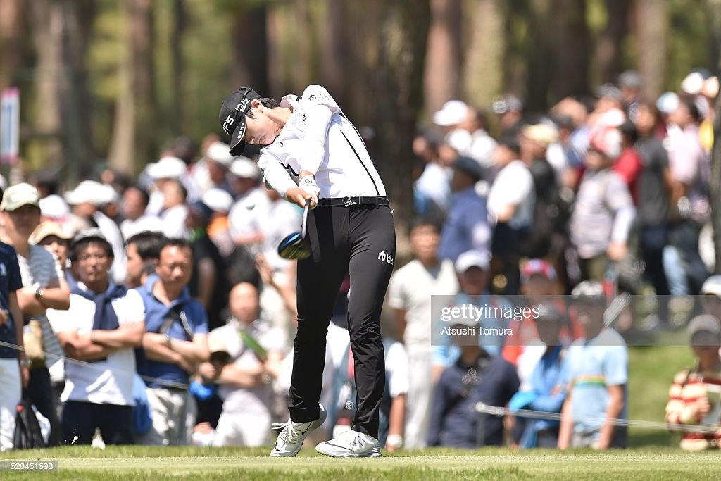 Sung Hyun-Park of South Korea hits her tee shot on the 12th hole during the first round of the World Ladies Championship Salonpas Cup at the Ibaraki Golf Club on May 5, 2016 in Tsukubamirai, Japan.