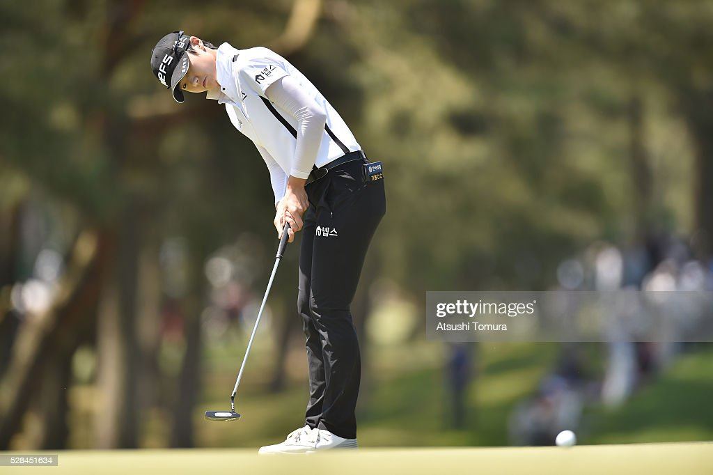 Sung Hyun-Park of South Korea putts on the 12th green during the first round of the World Ladies Championship Salonpas Cup at the Ibaraki Golf Club on May 5, 2016 in Tsukubamirai, Japan.