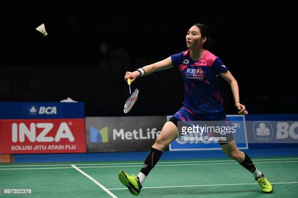 Sung Ji Hyun of Korea competes against Sayaka Sato of Japan during Women's Single Final match of the BCA Indonesia Open 2017 at Plenary Hall Jakarta...