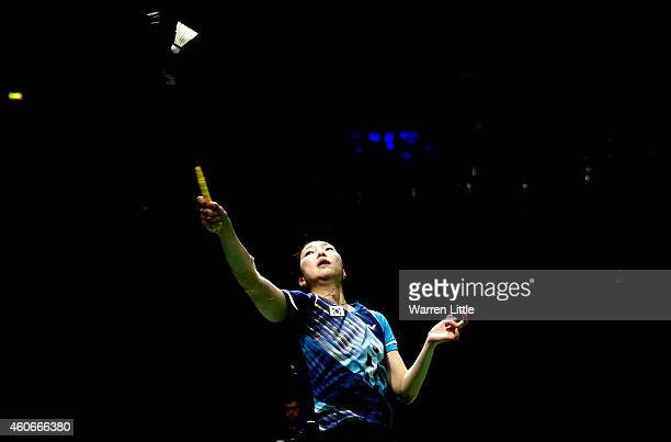 Sung Ji Hyun of Korea in action against Wang Shixian of China during Women's Singles Group B match on day three of the BWF Destination Dubai World...