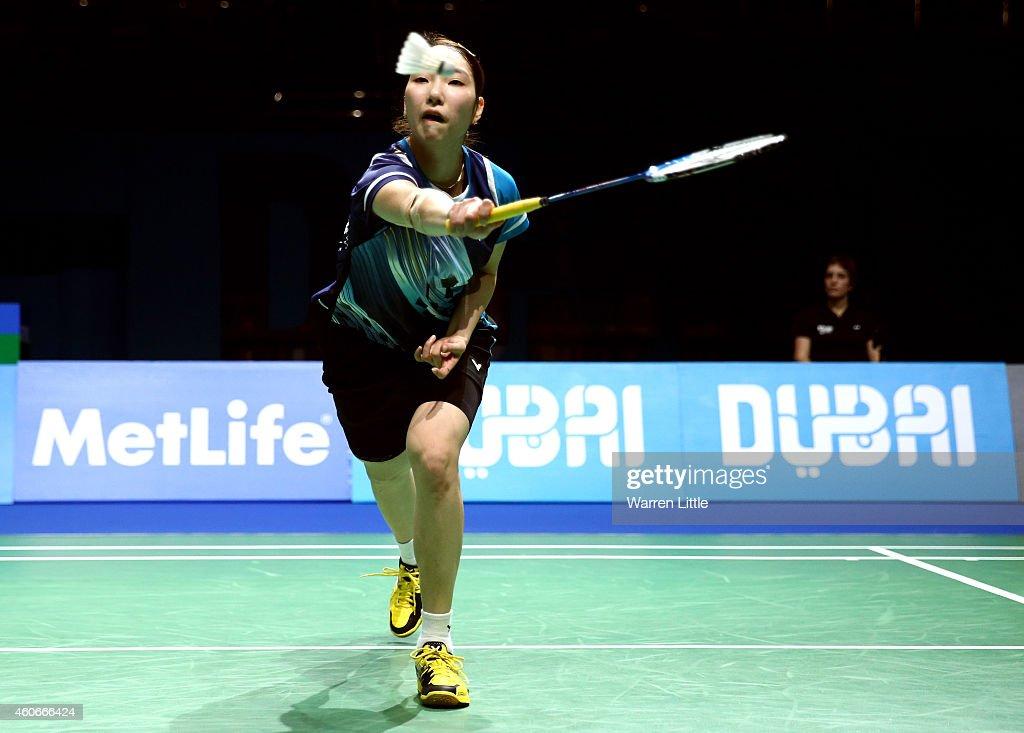 Sung Ji Hyun of Korea in action against Wang Shixian of China during Women's Singles Group B match on day three of the BWF Destination Dubai World...